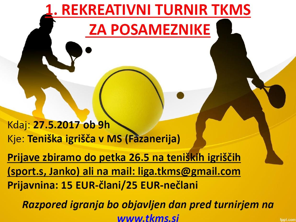 Vabilo na 1. rekreativni turnir TKMS